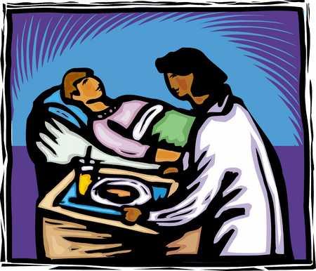 Nurse serving dinner to patient, close-up