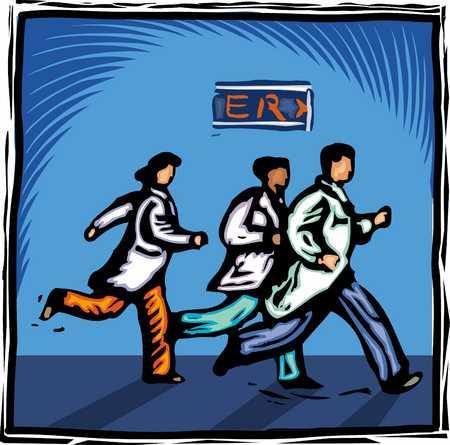 Doctors running towards emergency room