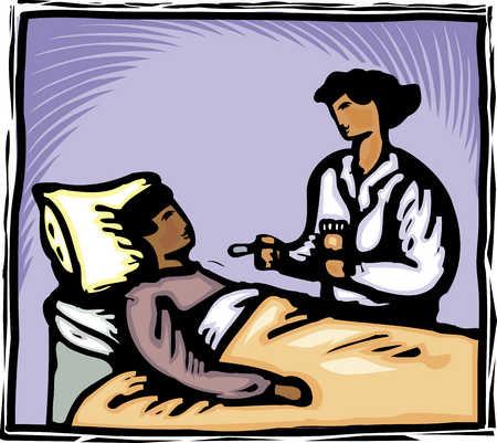 A nurse giving liquid medicine to a patient in bed