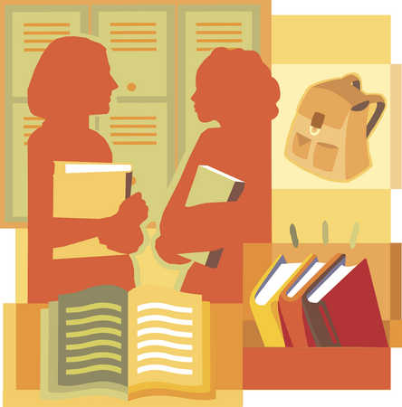 Two students talking by their lockers, montage