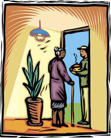 delivery man at door of elderly woman