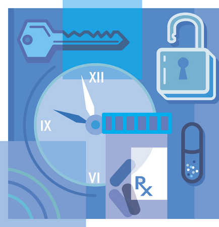 Lock and key, pills, and clock montage