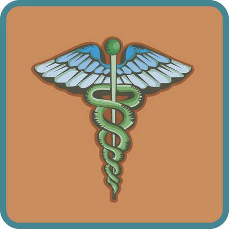Caduceus symbol, close-up