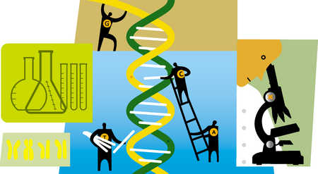group of people building dna