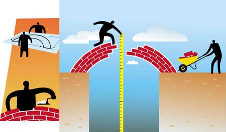 people constructing a bridge