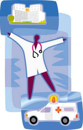 doctor, ambulance, and hospital