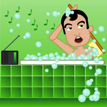 Man scrubbing his back in a bubble bath and singing a song