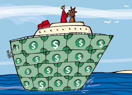 man steering a money yacht