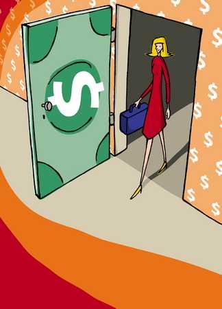Businesswoman walking through money door, elevated view