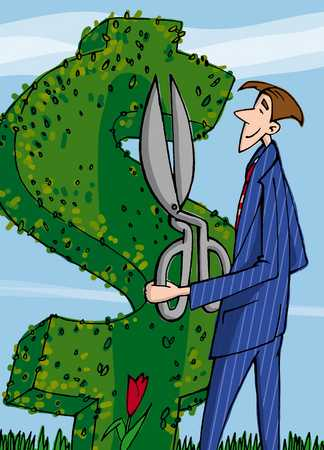 Businessman gardening dollar symbol, close-up