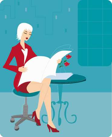 Businesswoman in red dress reading newspaper