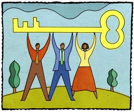 three people holding up a large key