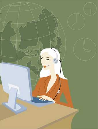 Businesswoman using headset in call centre, close-up