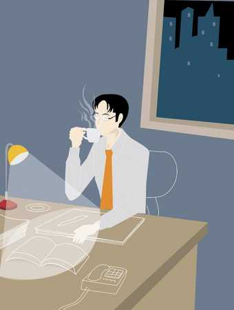 Businessman working late night, drinking coffee