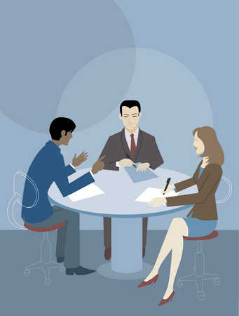 Stock Illustration Three People At A Round Table Having