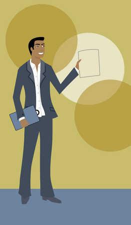 Businessman holding a winning report