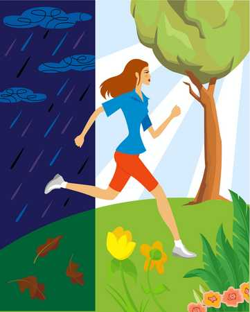 Young woman jogging from rain to summer, side view