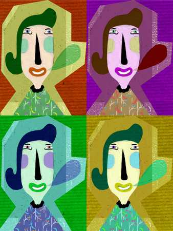 woman with speech bubble in four colorful squares