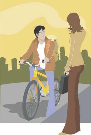 Woman talking to a man on a bike