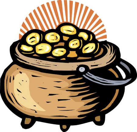 Pot of gold, close-up