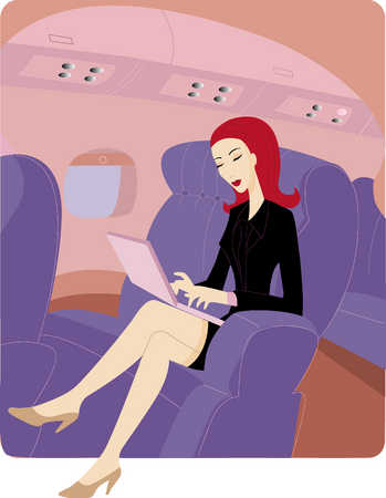 Woman on plane using her laptop