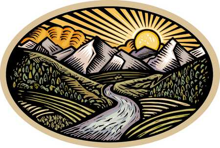 oval shaped nature scene of mountains, hills and stream
