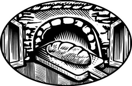 oven baked bread b/w