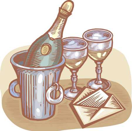 bottle of champagne and glasses