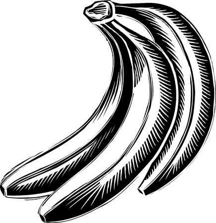 three bananas black and white