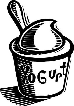 cup of yogurt black and white