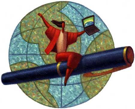 Businesswoman flying around globe on pen, holding laptop