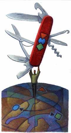 Businessman standing on globe holding swiss army knife