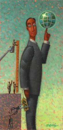 Businessman holding globe on finger