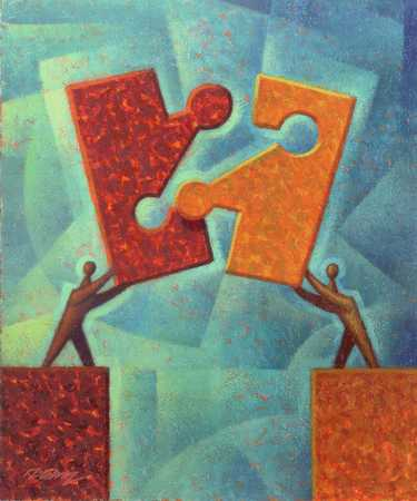 Businessmen holding puzzle