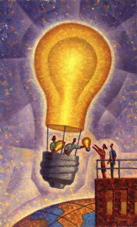 Businesspeople passing lightbulb