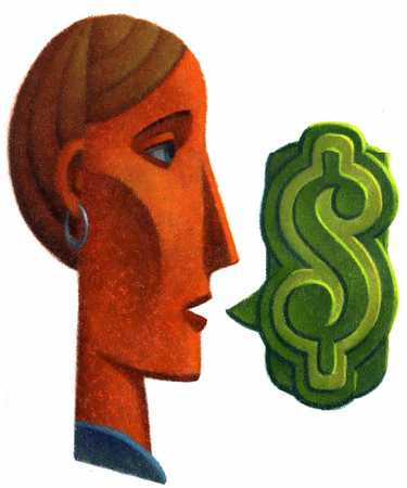 Businesswoman with dollar sign, close-up