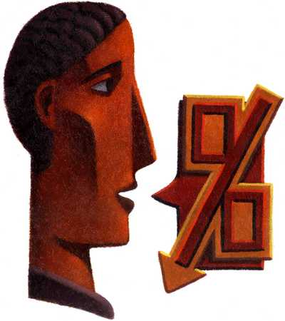 Businessman with percentage symbol, close-up