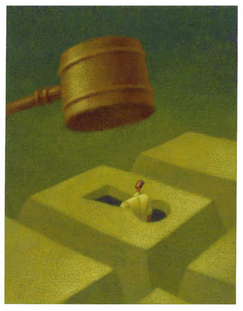 businessman being hit by giant gavel
