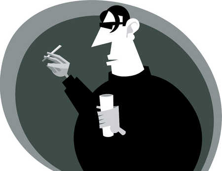 man with a drink and cigarette