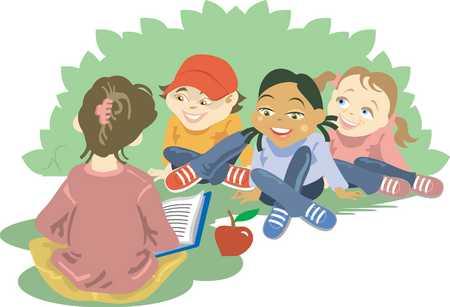 Teacher teaching children (4-5)