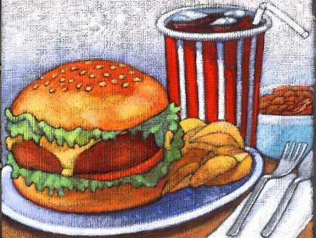 Burger, fries and soda