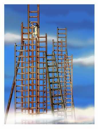 businesswoman climbing the tallest ladder
