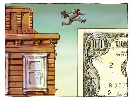 businessman jumping from a building to a dollar sign