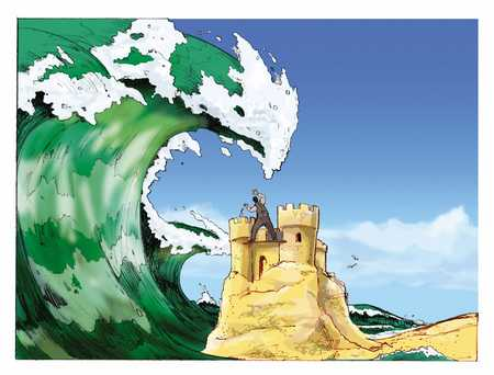 businessman on top of a sandcastle standing underneath a giant ocean wave