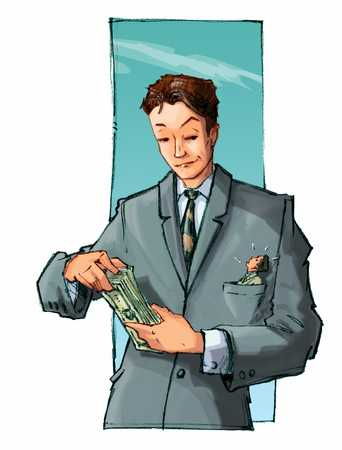 businessman counting his money