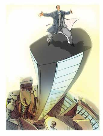businessman on a tall building