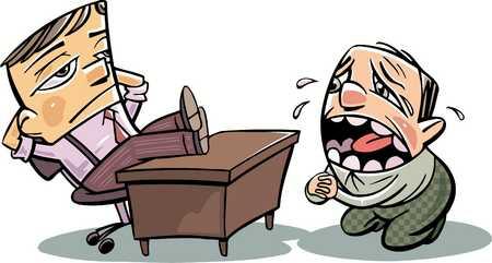 Office worker pleading in front of boss