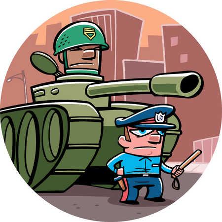 army tank and policeman