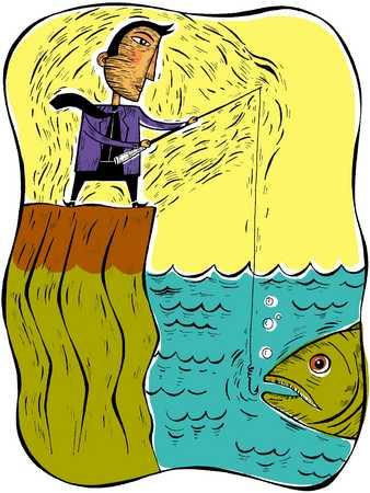 Businessman fishing, close-up