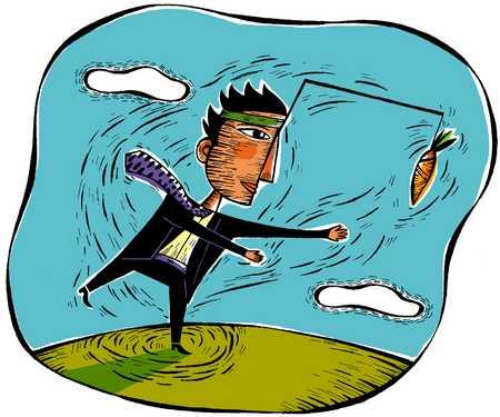 Businessman chasing dangling carrot, close-up